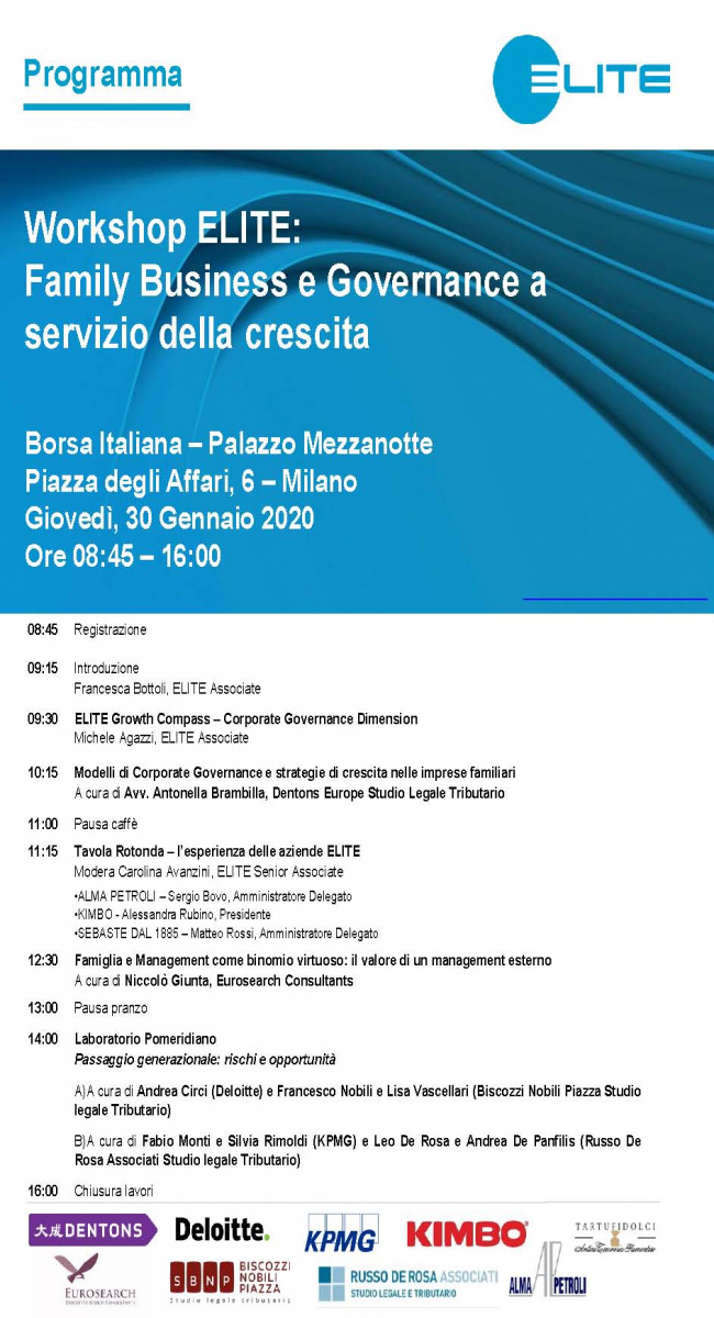 "Leo De Rosa and Andrea De Panfilis speaker at Elite Workshop ""Family business e governance a servizio della crescita"""
