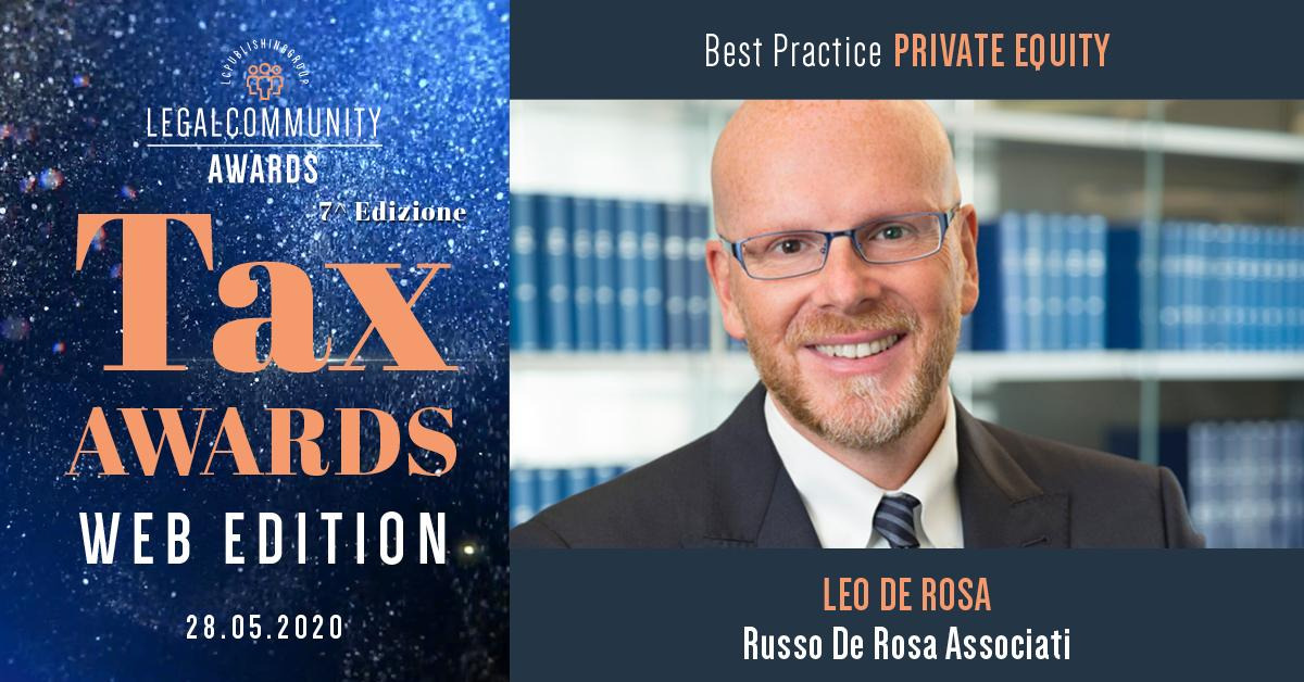 Leo De Rosa winner at Legalcommunity Tax Awards 2020 as Best Practice private equity