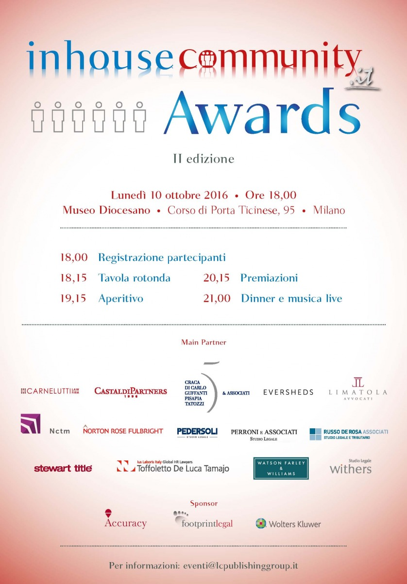 Russo De Rosa Associati main partner per gli Inhousecommunity Awards